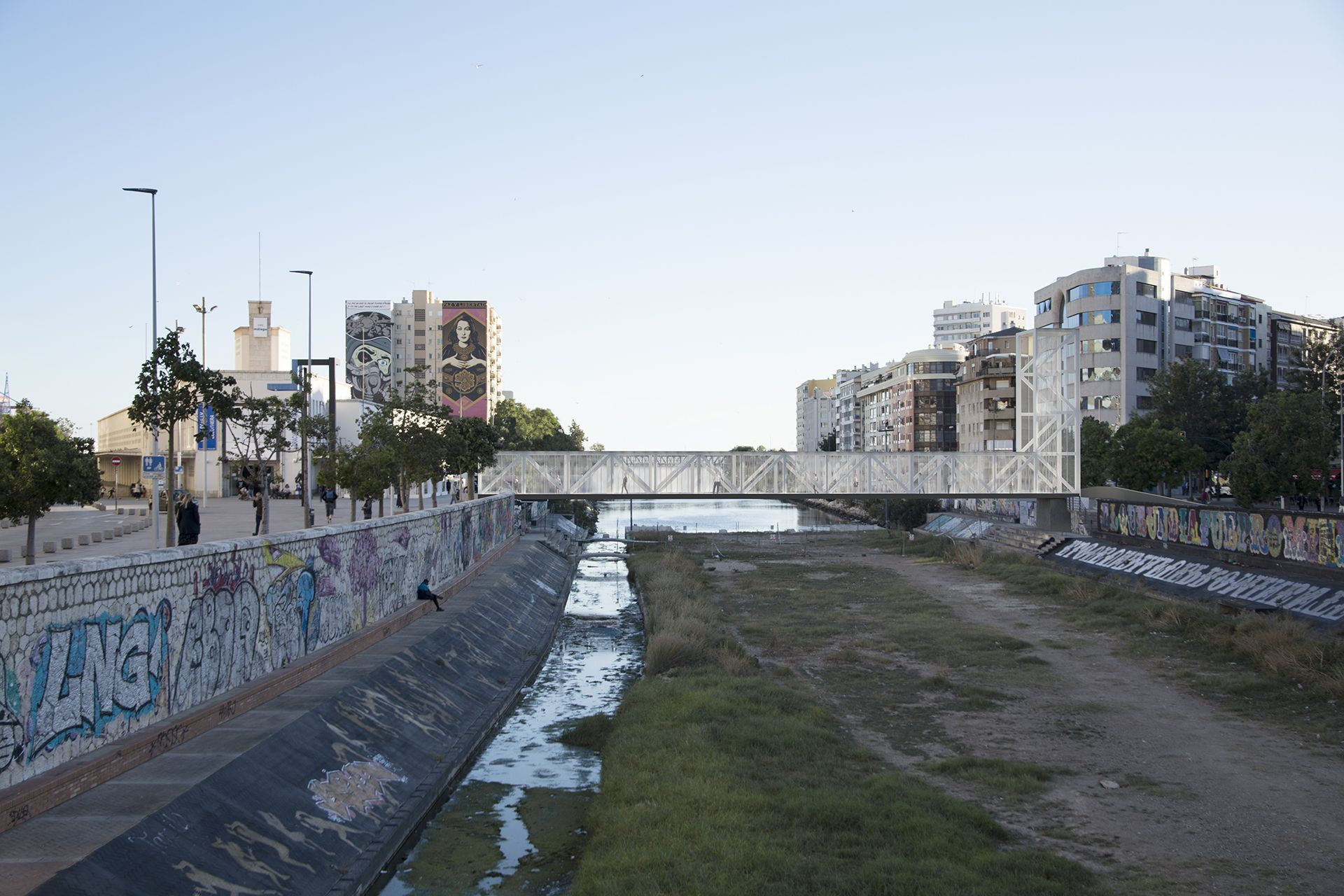Render 3D Pasarela Río Guadalmedina en Málaga