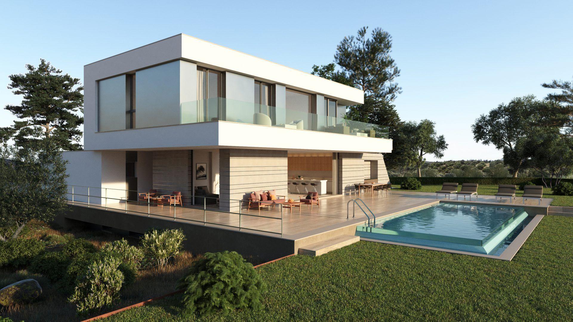 Renders fotorrealistas y visualización de arquitectura para marketing de promoción inmobiliaria Antequera Golf