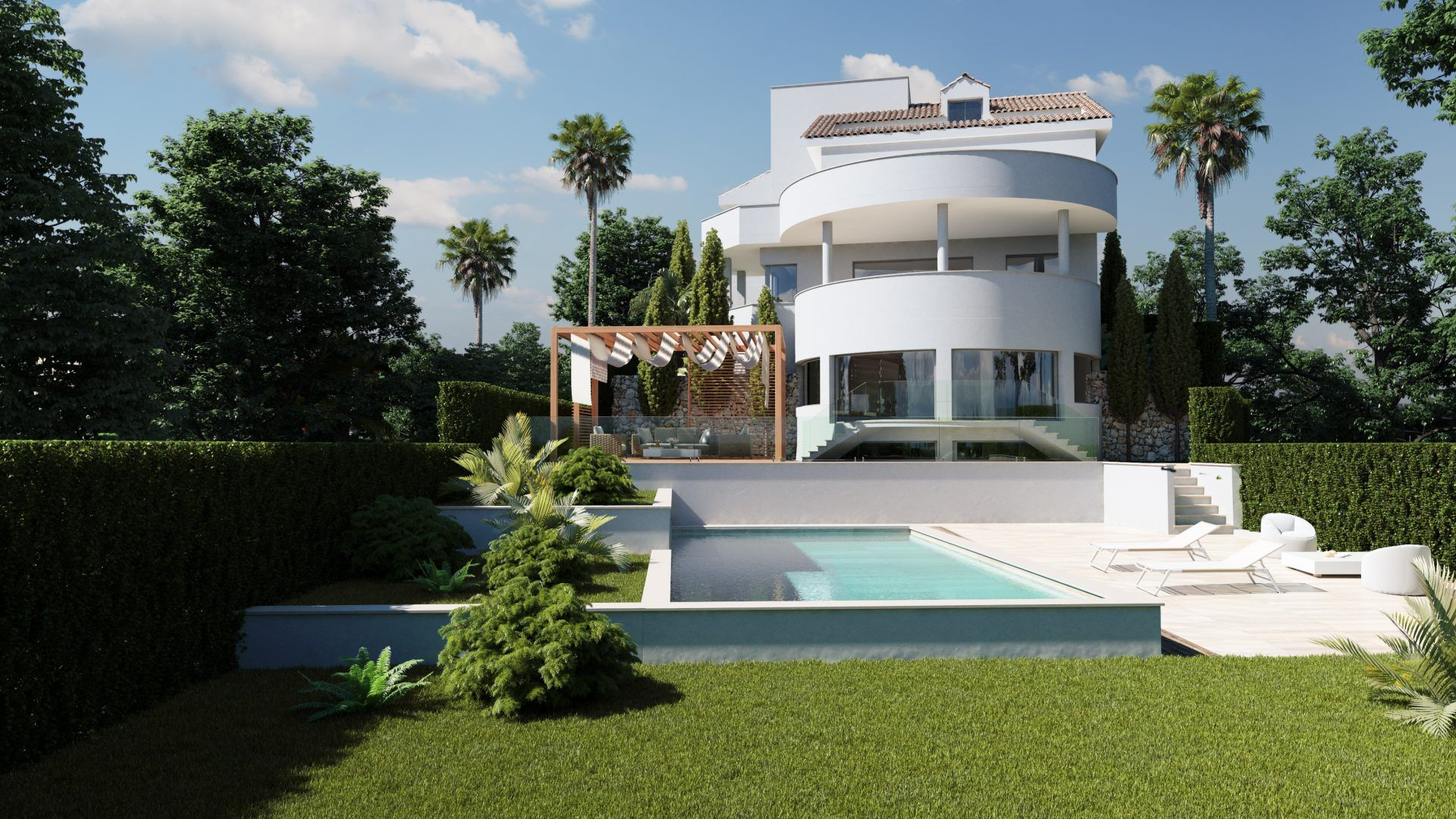 Infografías 3D para promoción inmobiliaria de dos villas en urbanización La Perla en Benalmádena.