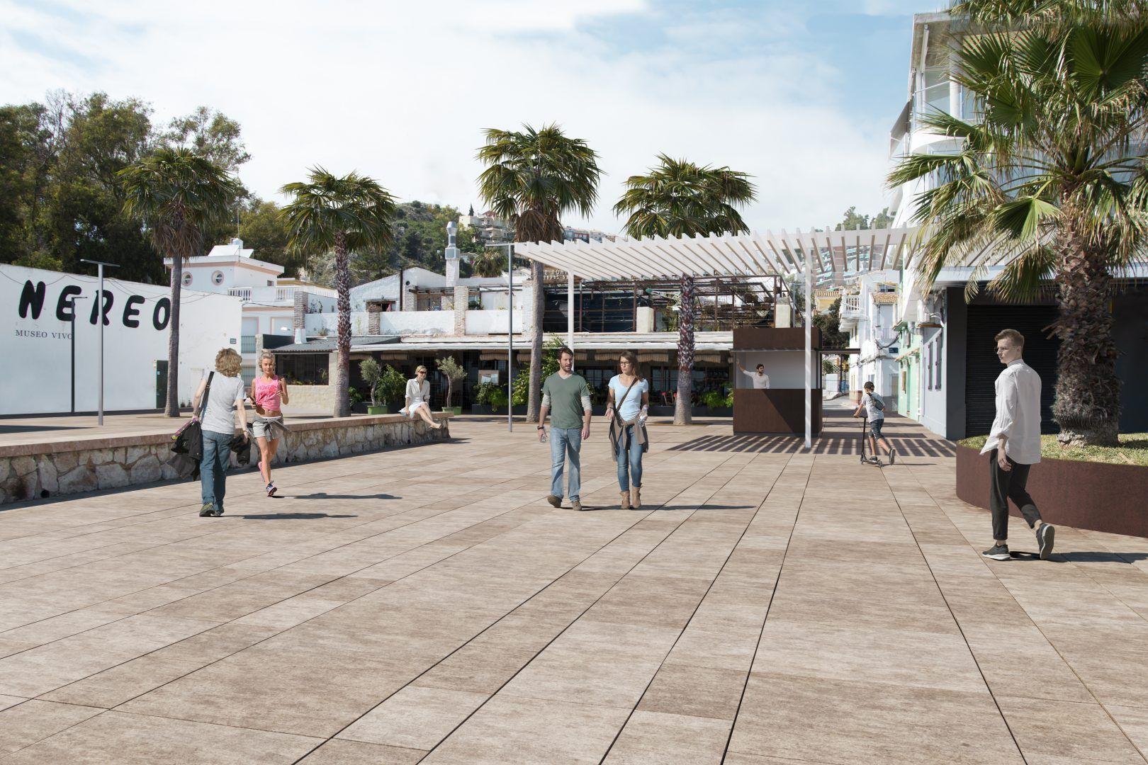 Infografías 3D para paseo marítimo de Pedregalejo en Málaga.